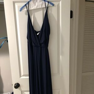 David's Bridal navy double strap bridesmaid dress